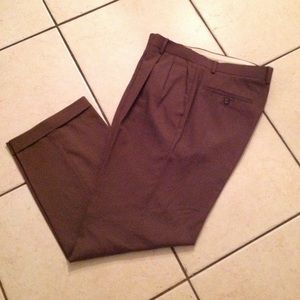 PRONTO UOMO 100%Wool Pleated trousers/Brown